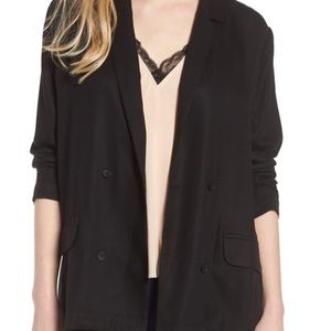 Trouve Double Breasted Black Long Blazer M